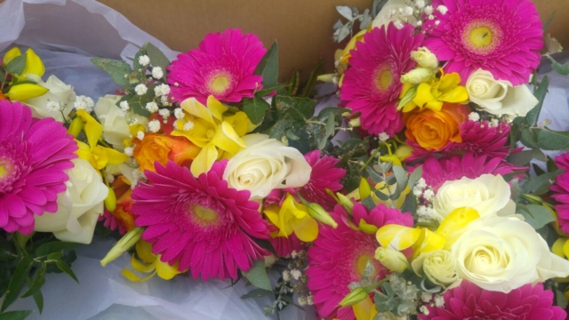 Pink Gerberas with Yellow Orchids, Roses and Gyp