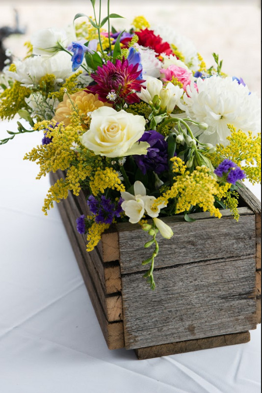 Wedding flower wooden pot