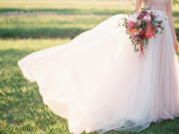 Blush Wedding Dress Flowers