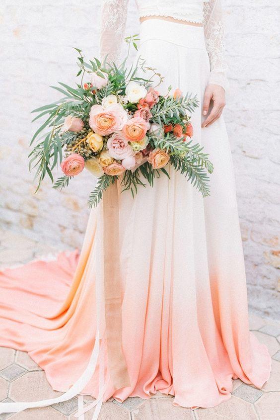 Peach Wedding Dress