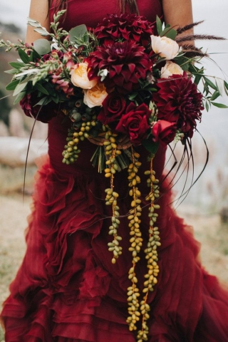 Red Colourful Wedding Dress