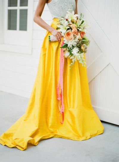Yellow Colourful Wedding Dress
